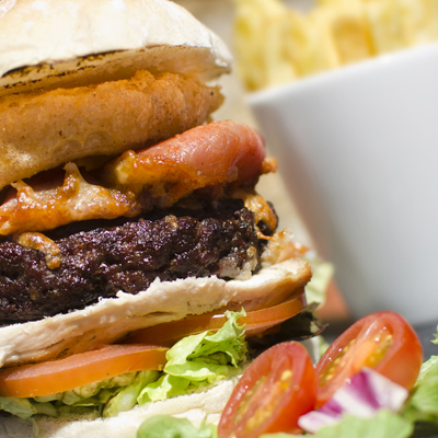 The Tower Burger - food served all day at The Norfolk Arms