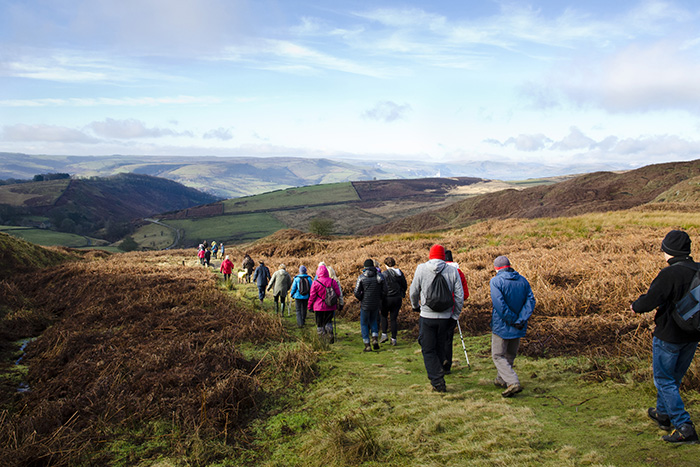 A group of Ringinglow Walkers approach Callow on a nice sunny day