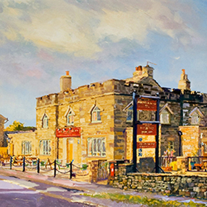 A painting of the exterior of The Norfolk Arms by local artist Martin Decent