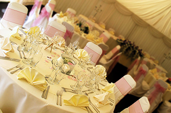 The Norfolk Arms marquee set up for a wedding