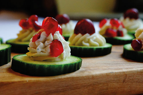 A plate of cucumber canapes