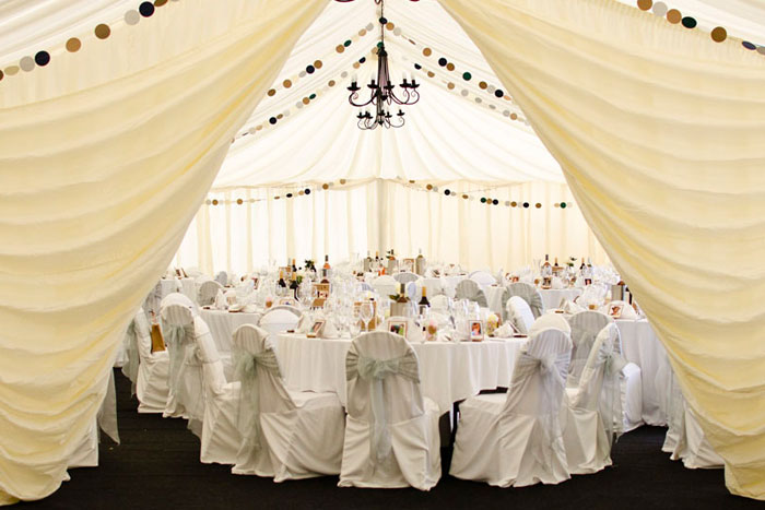 The Norfolk Arms marquee set up for a wedding breakfast