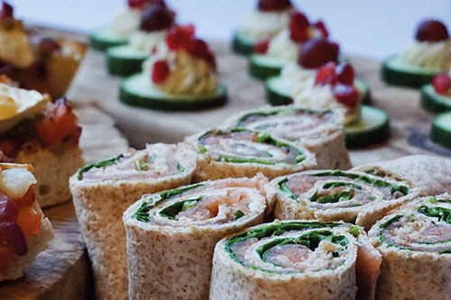 A selection of wrap-style canapes