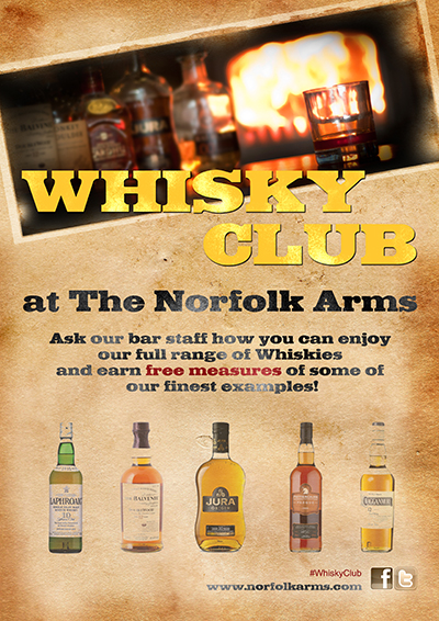 Whisky Club at The Norfolk Arms - enjoy free smaples of our finest Whiskies