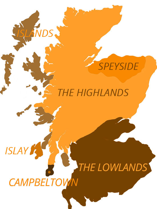The six main whisky production regions of Scotland